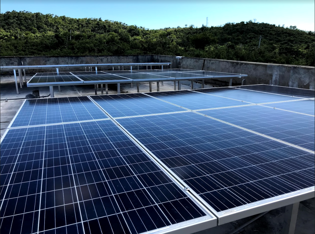 Rooftop solar panels atop a fire station in Vieques