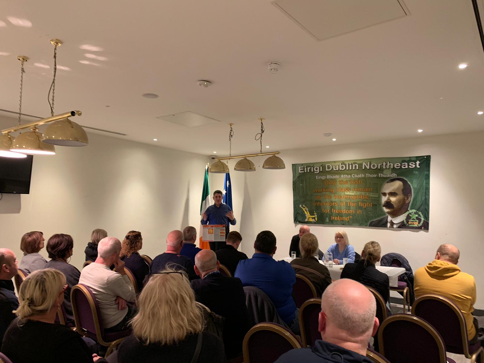 Brian Leeson address the launch