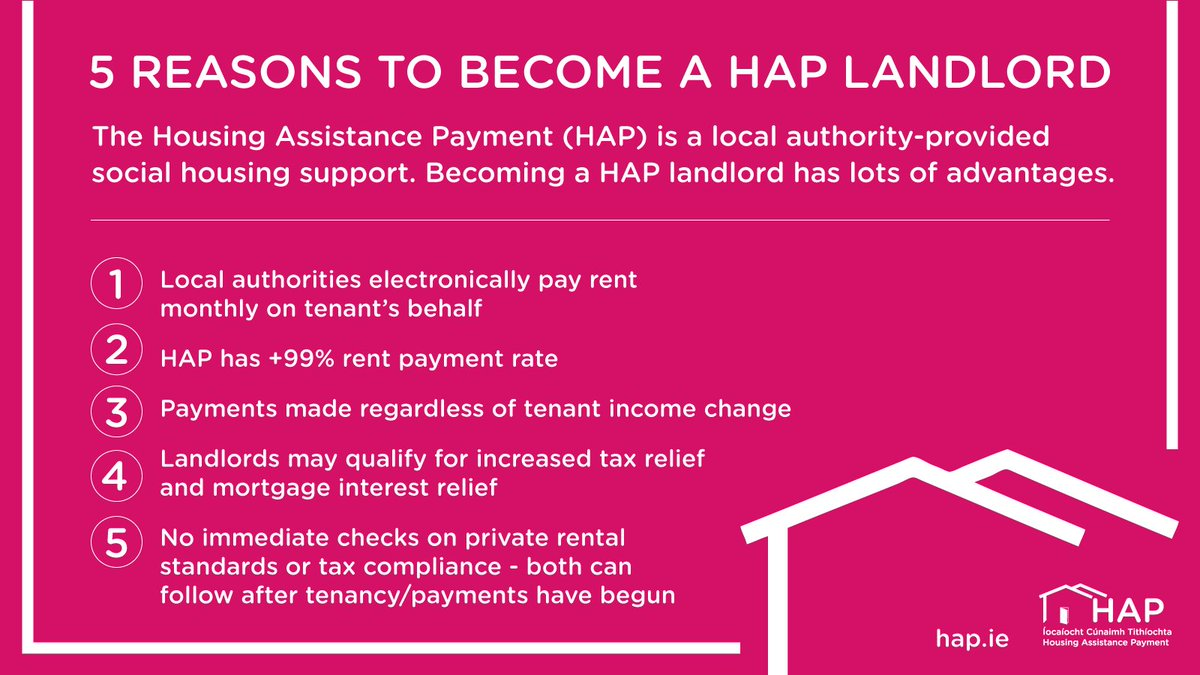 Government advertisement encouraging landlords to join the HAP scheme with promises of guaranteed state-backed income, tax relief and mortgage tax relief. They even encourage landlords to join HAP without being tax compliant.