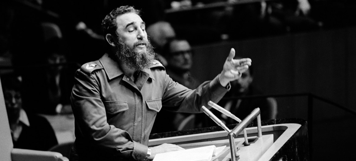Fidel Castro addressing the United Nations General Assembly in 1979