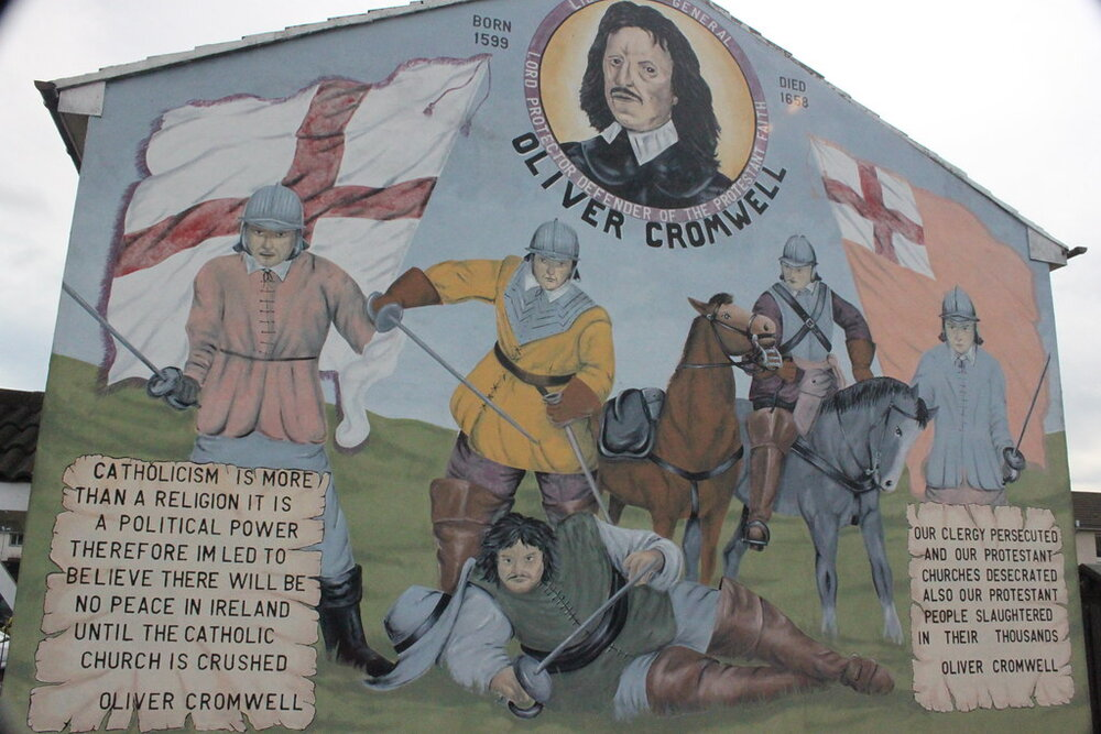A mural on the Shankill Road from circa 2009. The quotes attributed to Cromwell reinforce the foundation myth of modern day unionism.