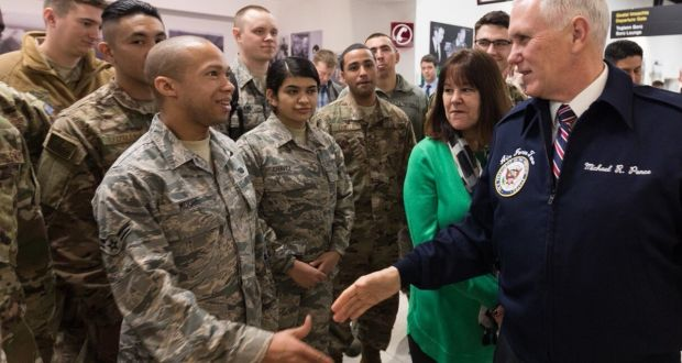 Pence meets US combat troops in Shannon Airport in January of this year.
