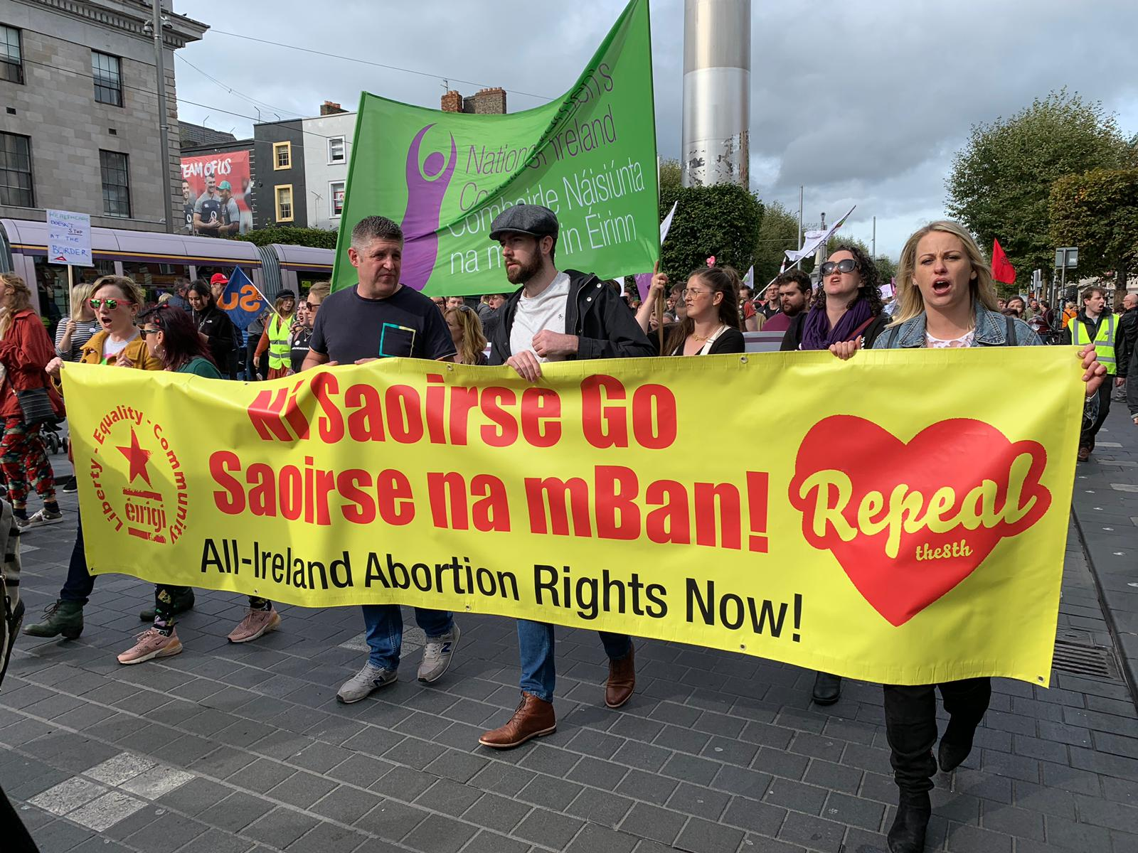 All-Ireland Abortion Rights Now! Passing the historic GPO on O'Connell Street, Dublin.