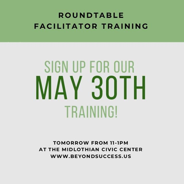 It's not too late! Sign up today for our Facilitator Training TOMORROW from 11-1pm at http://www.beyondsuccess.us/trainings.