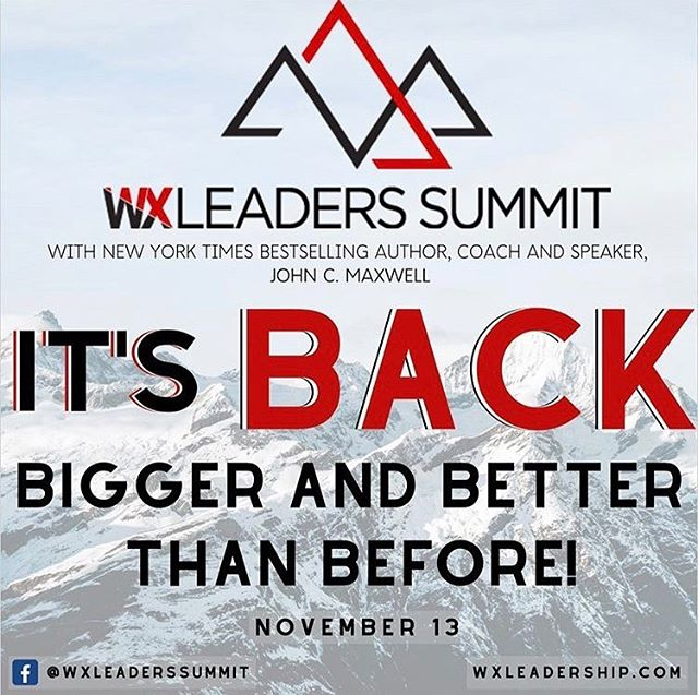 IT'S BACK! #wxleadershipsummit 👏🏼😁 Join us for the top-tier leadership event of the year on November 13th with John C. Maxwell ❗️ @johnmaxwellteam  @johncmaxwell  This event is going to be even bigger and better than last year and we are so excited to be apart of it!