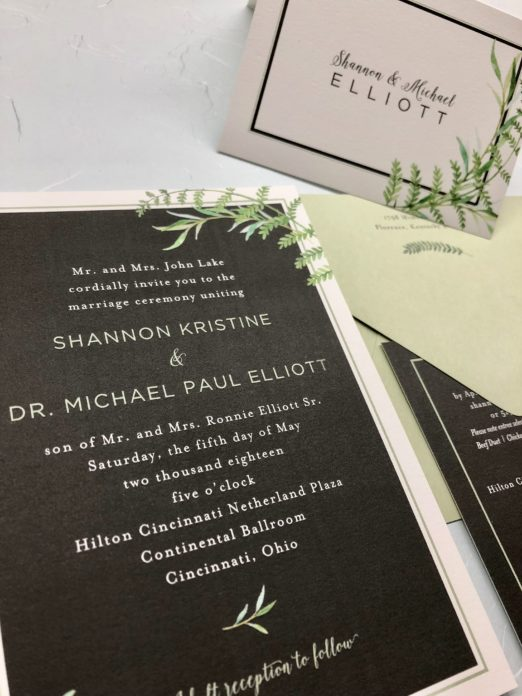 Black and green wedding suite with fern illustrations