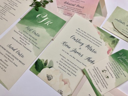 Watercolor and floral wedding stationery with monogram