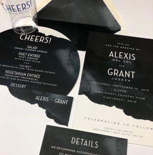 Contemporary black & white wedding stationery suite with circular dinner menu