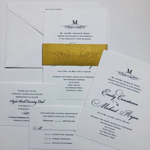 Blue and White Wedding Stationery with Gold Belly Band