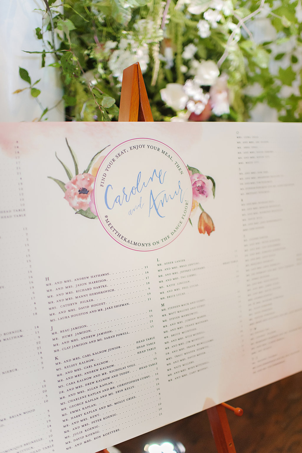 Wedding signage for Cincinnati wedding ceremony with watercolor florals by Poeme.