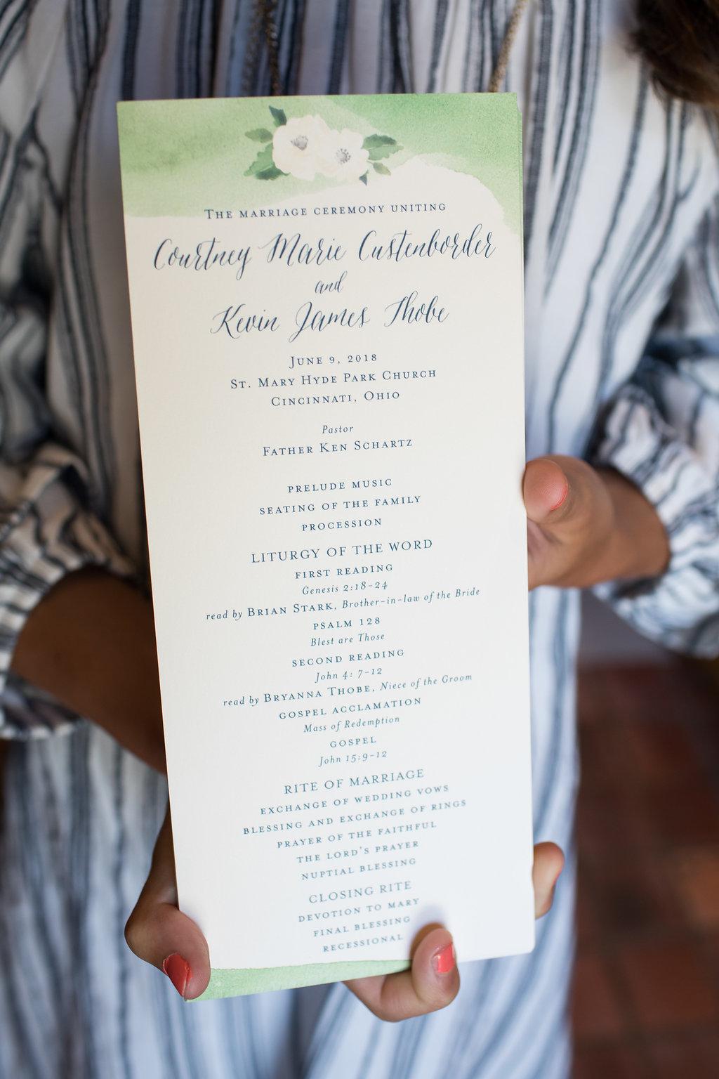 Wedding program for Ault Park Cincinnati Wedding day with rustic elements. Ben Elsass Photography