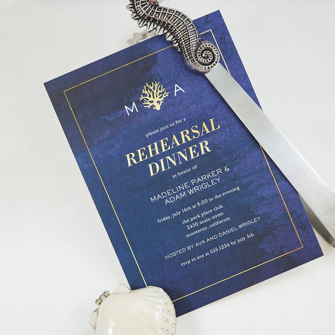Blue Sea Motif Rehearsal Dinner Invitation