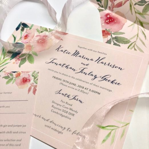 Cream with blush floral wedding stationery with custom stamps