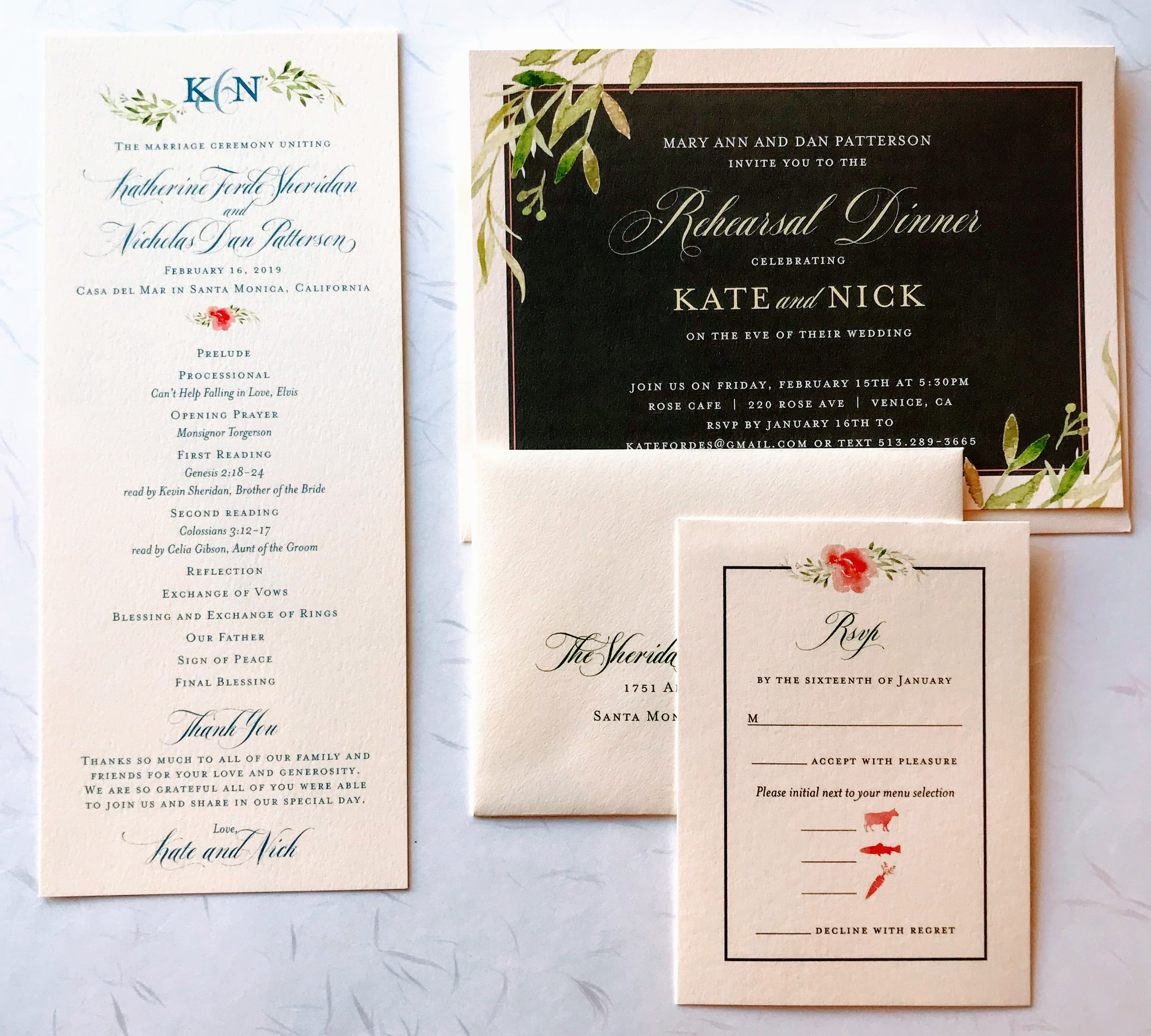 Watercolor Floral & Leaf Wedding Invitation Suite