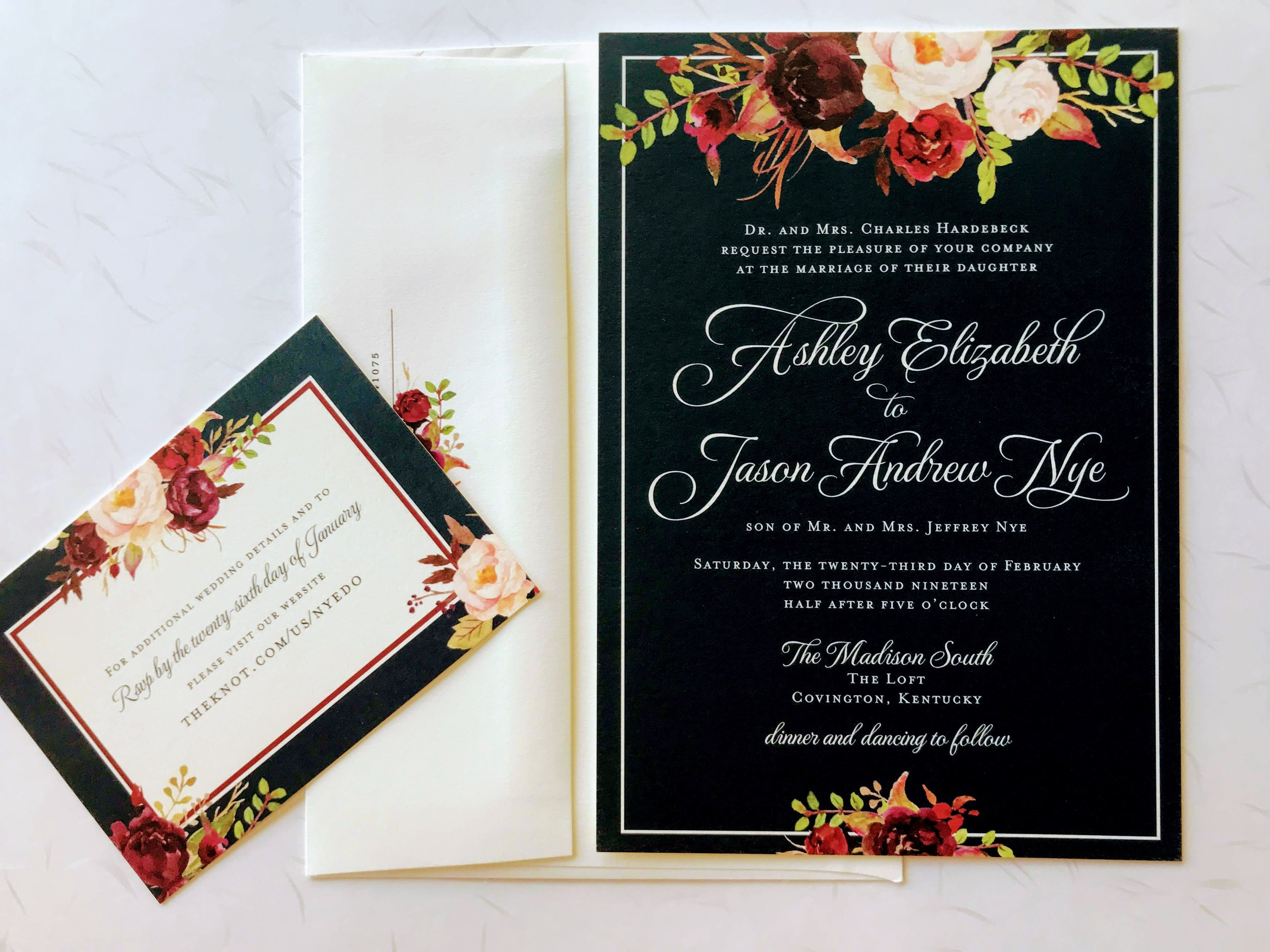 Floral on Black Wedding Suite