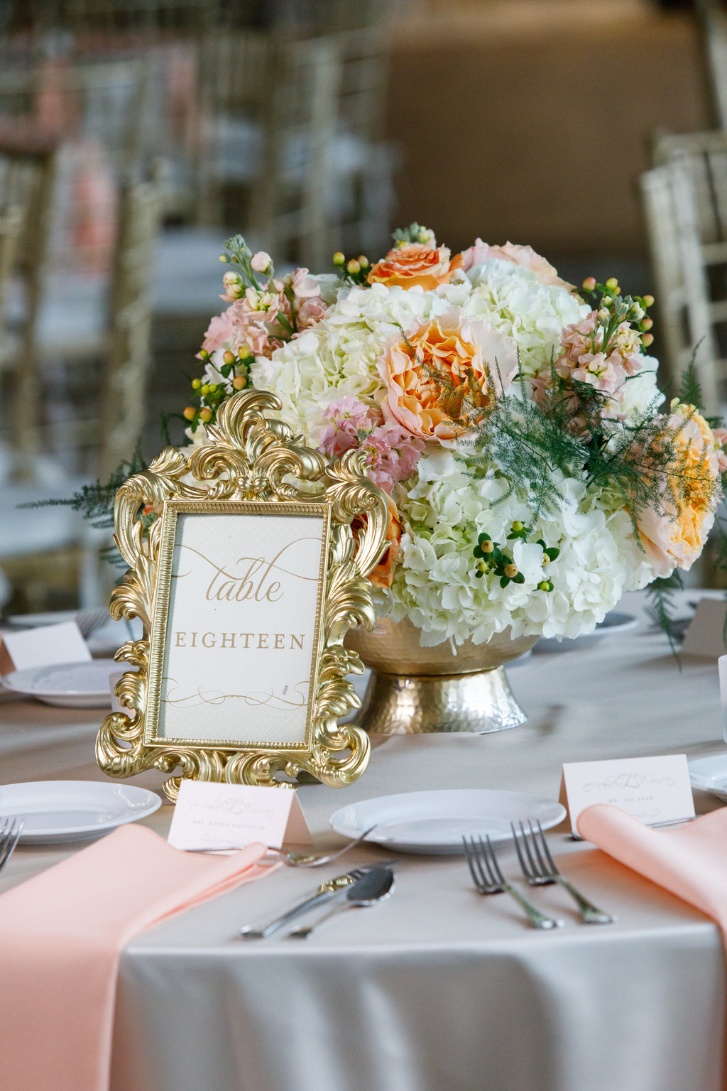 Summer wedding at Cincinnati's Cooper Creek Event Center. White and soft peach palette with stationery by Poeme. Photo Leppert Photography