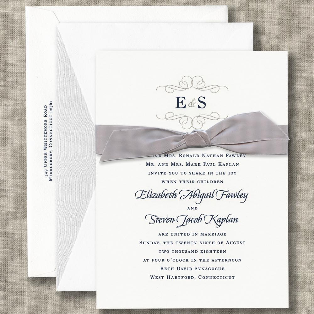 William Arthur wedding invitation with velvet ribbon