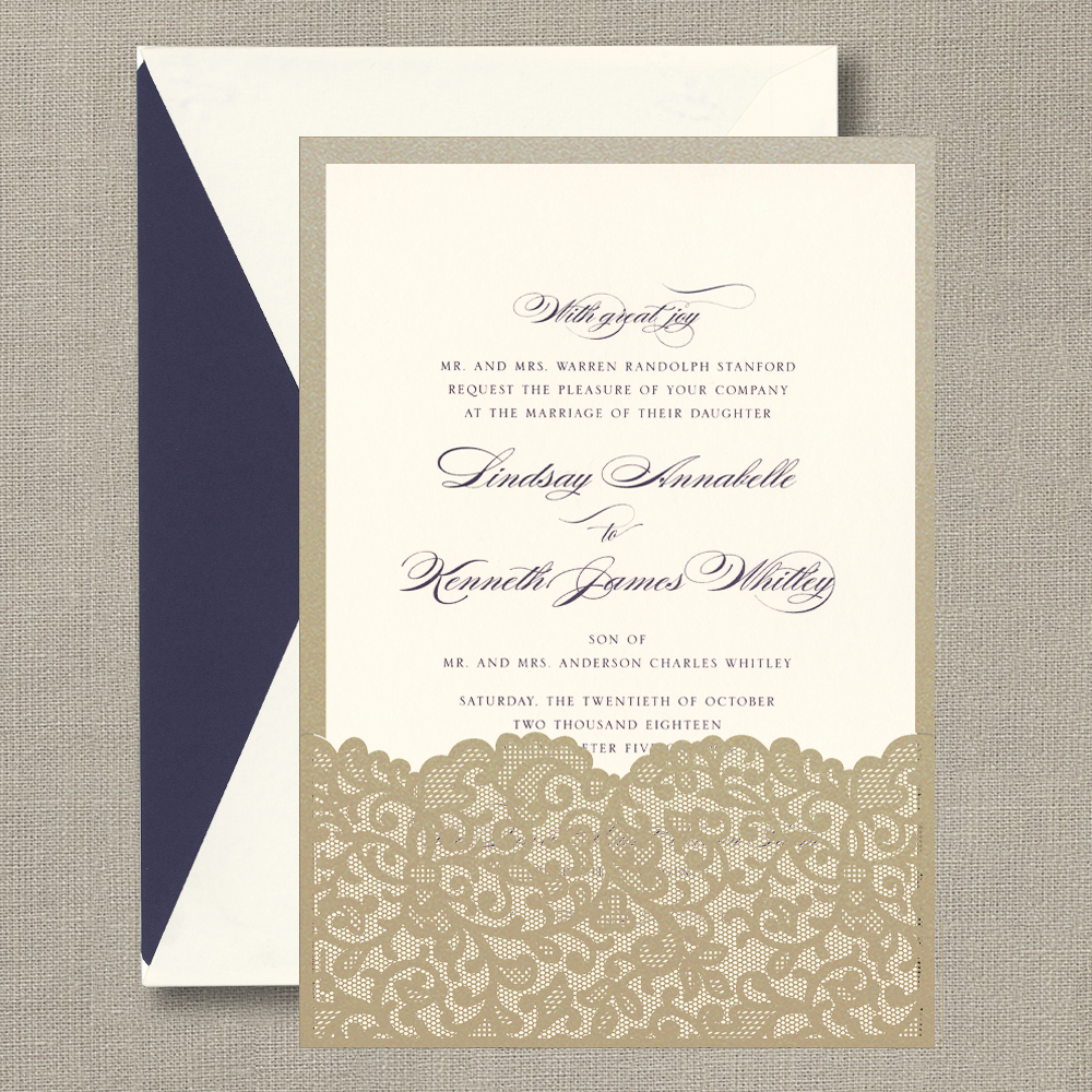 Calligraphic Ecru Invitation with Belgian Lace Pocket