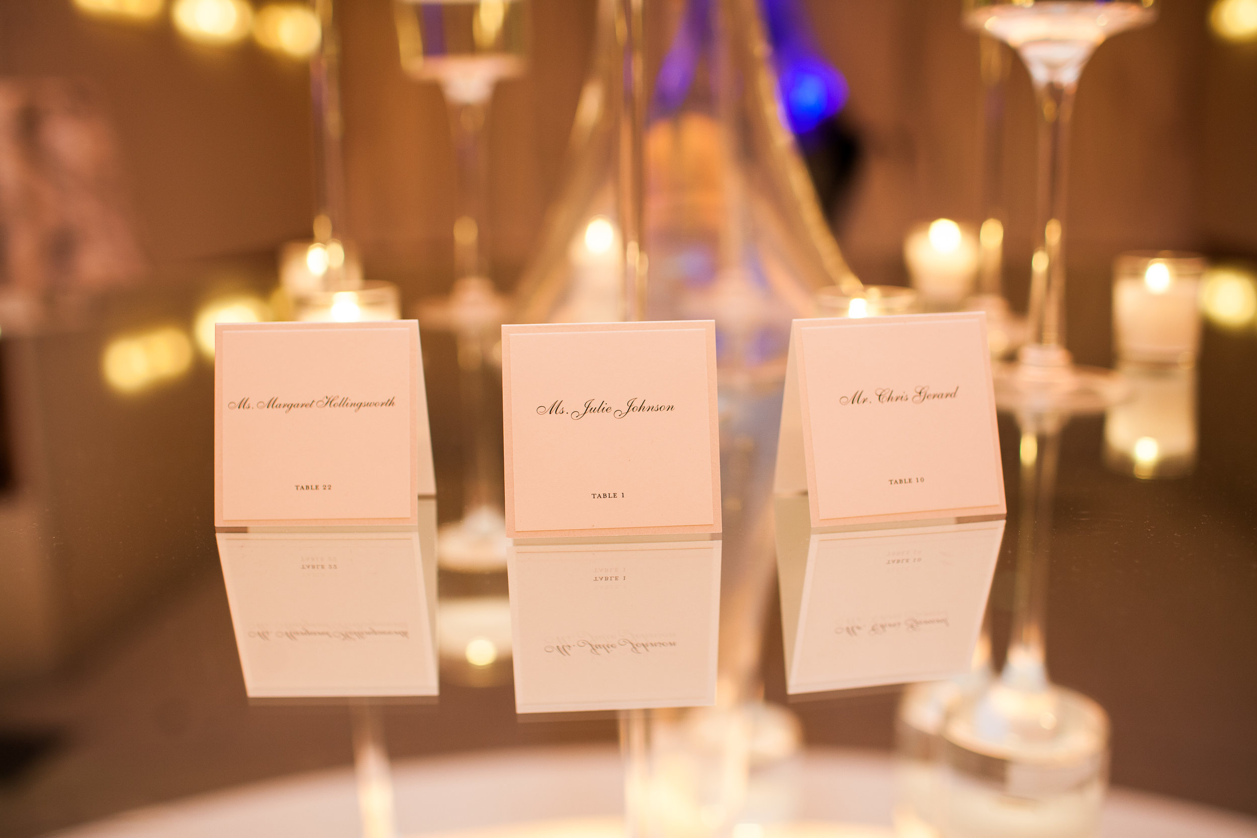 Escort cards for modern, elegant Cincinnati wedding at The Center. Photo Nathan Peel Photography