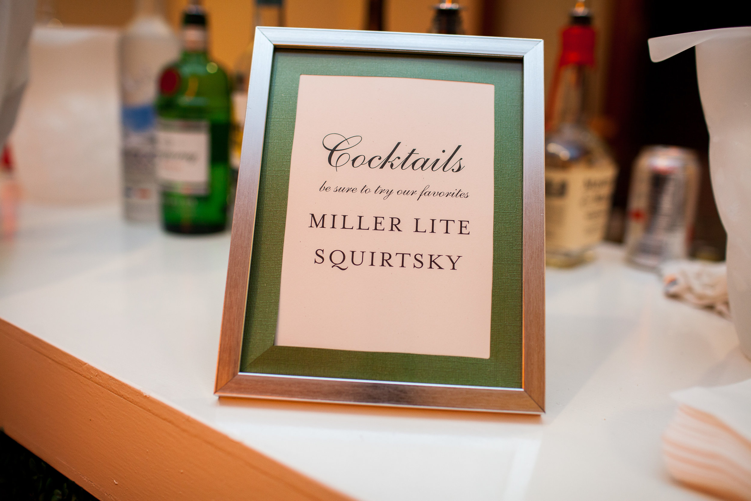 Cocktails signage for Modern Elegant Cincinnati wedding at The Center. Photo Nathan Peel Photography