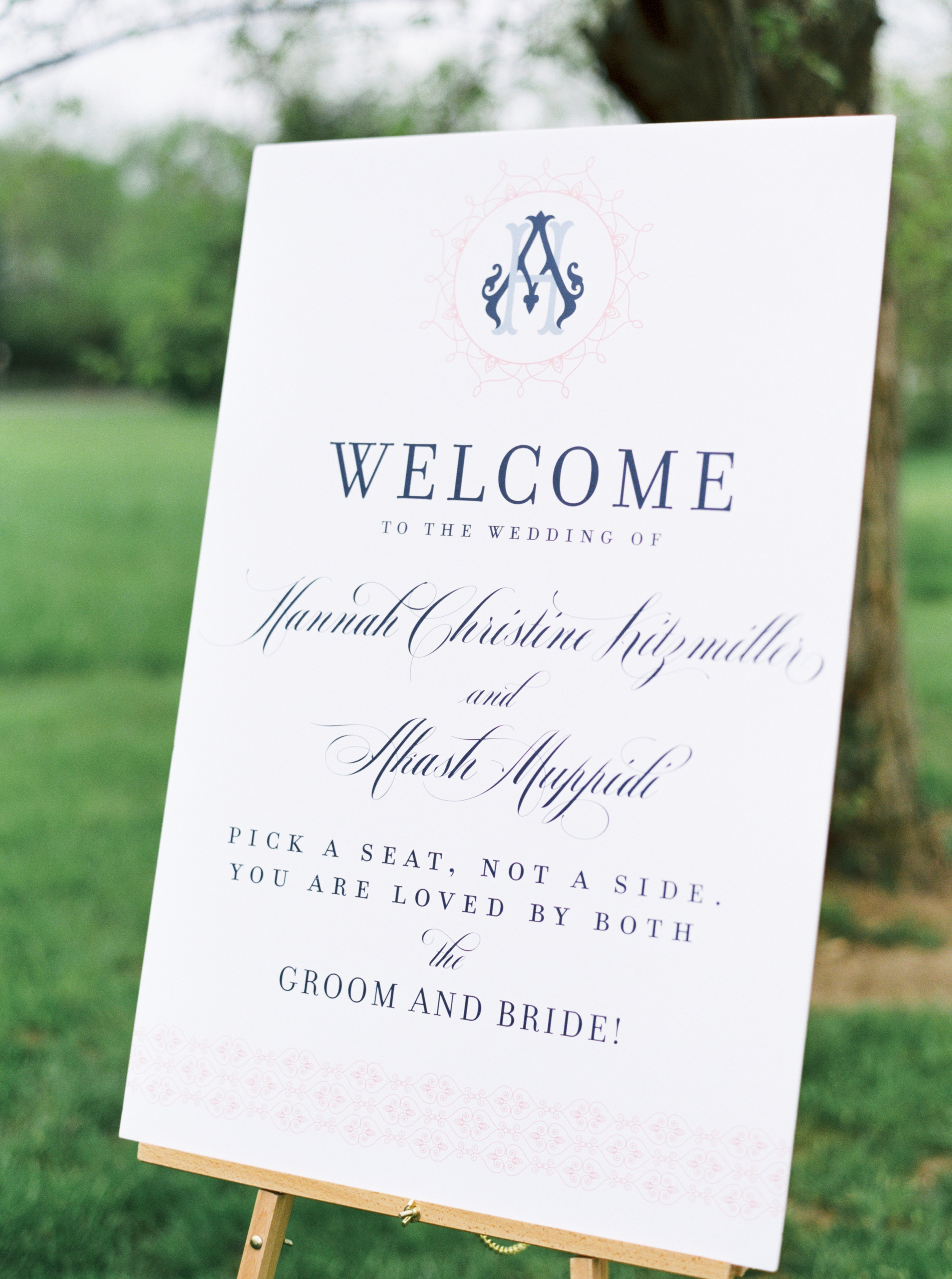Cincinnati wedding day with south Indian motif welcome wedding signage