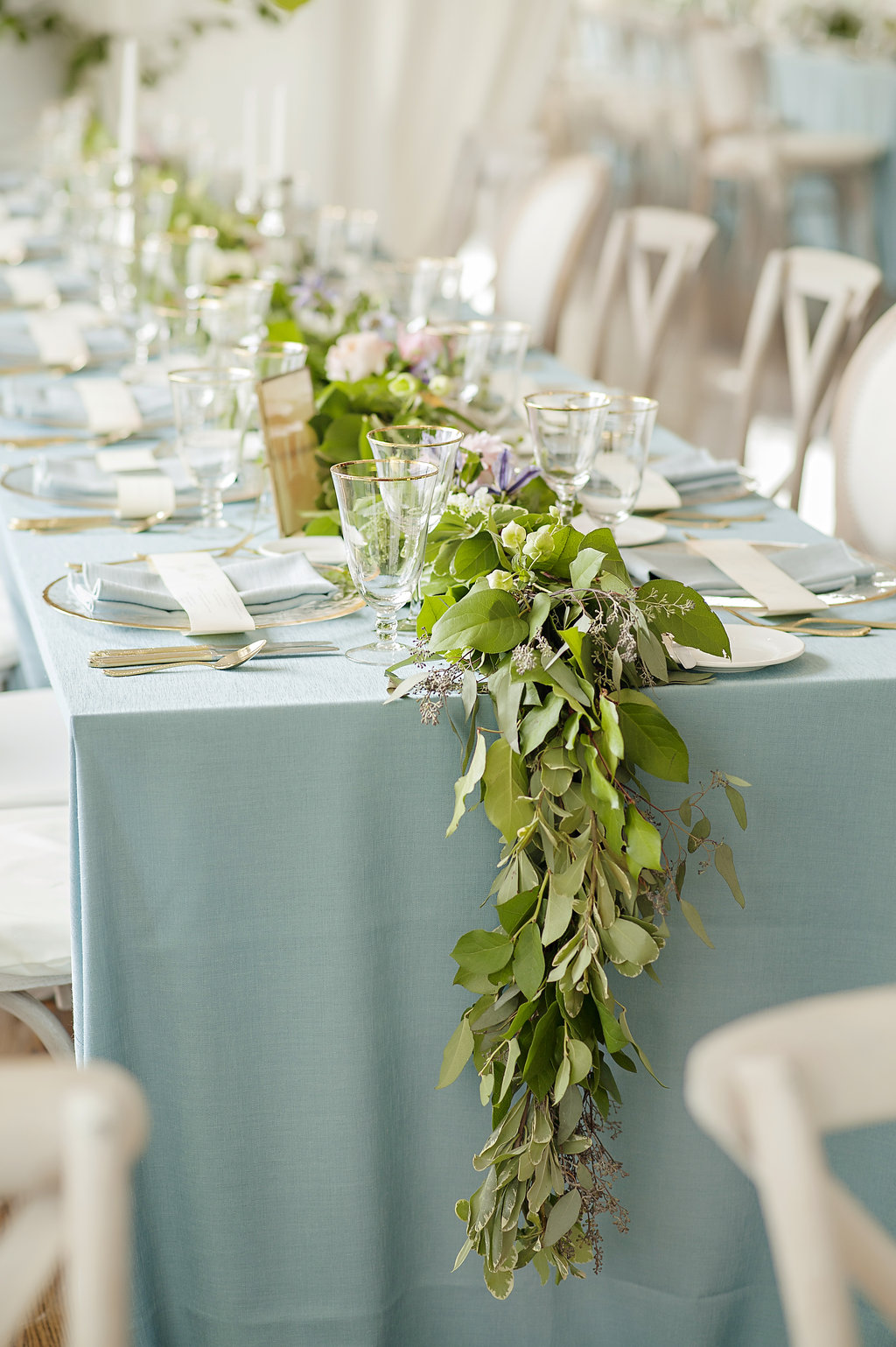 Floral table runner for Cincinnati wedding