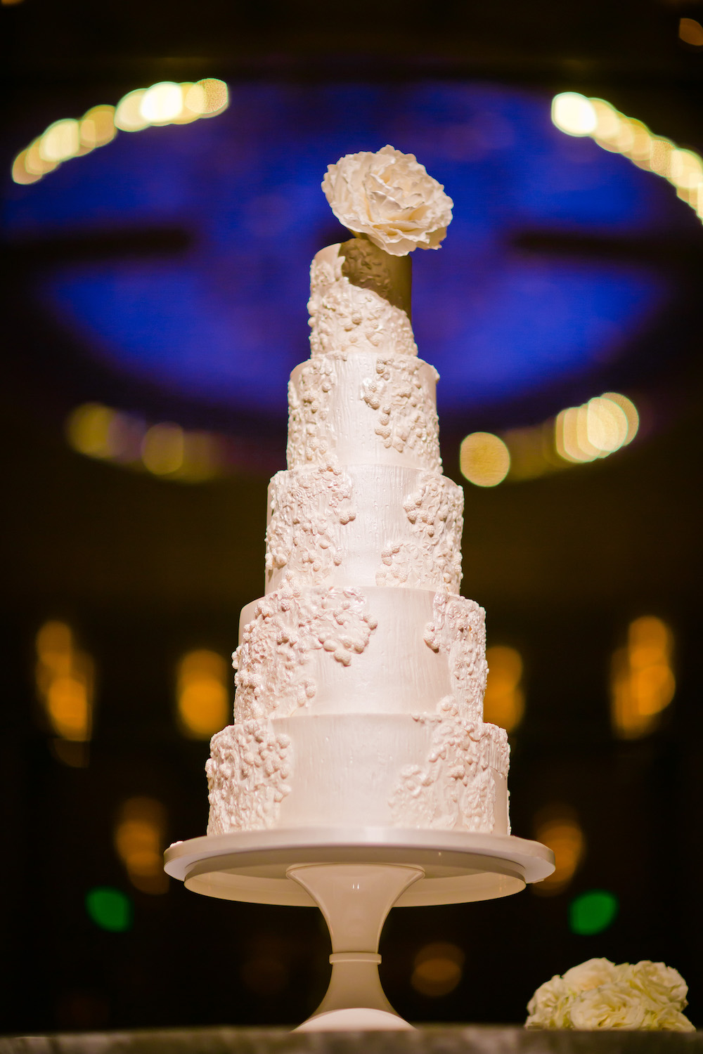 Five tiered wedding cake in white for Cincinnati wedding