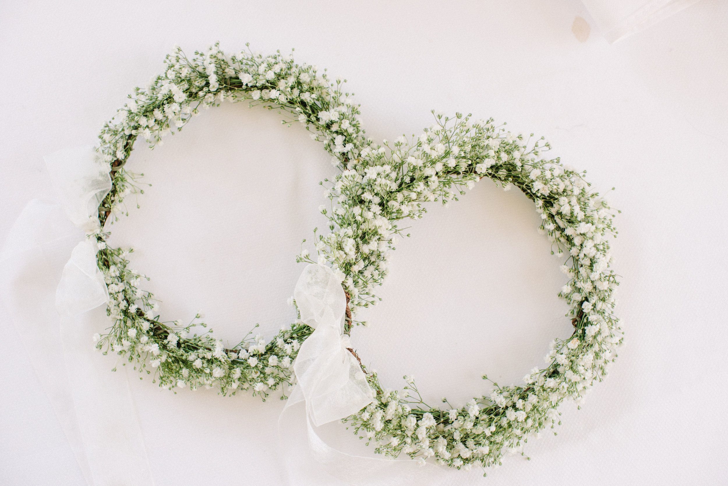Flower girl crowns in baby's breath for Santa Monica wedding