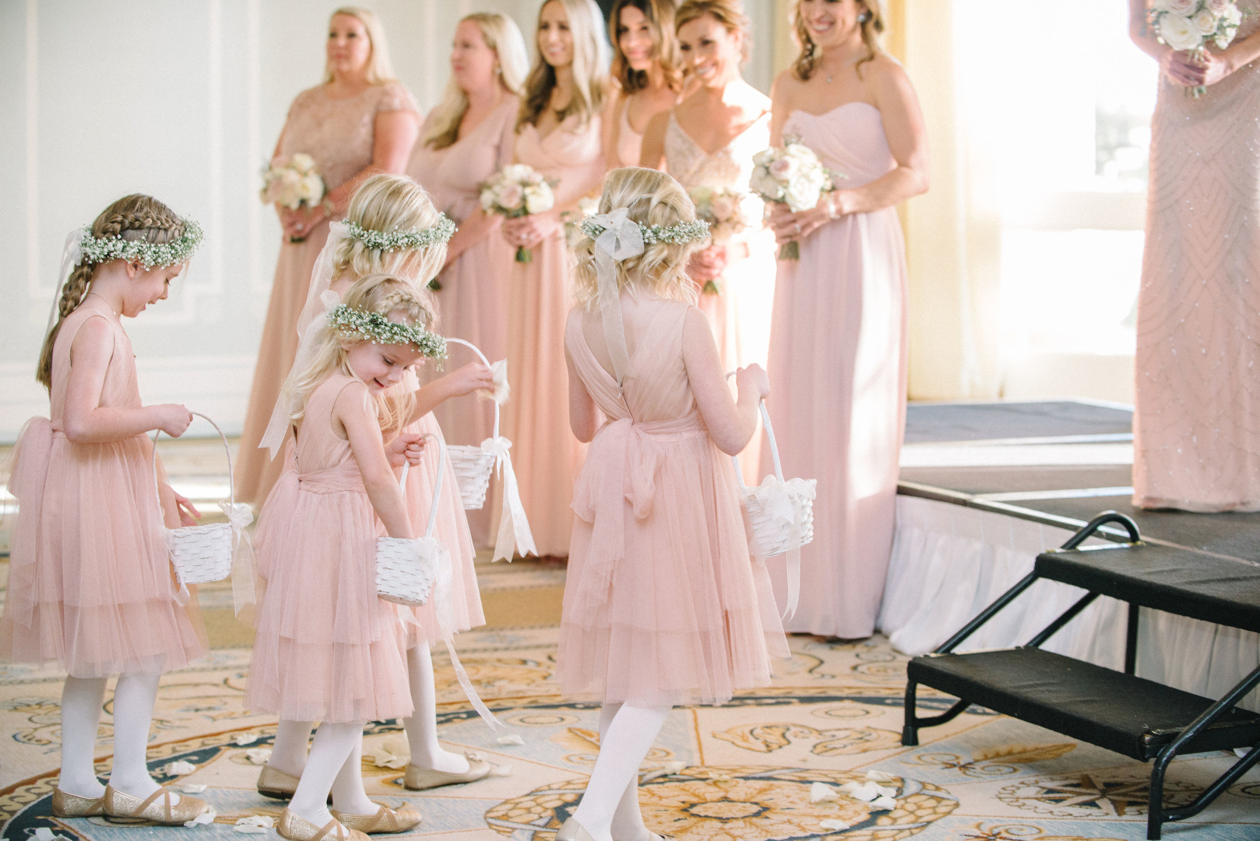 Blush bridesmaids and flower girls for Santa Monica destination wedding