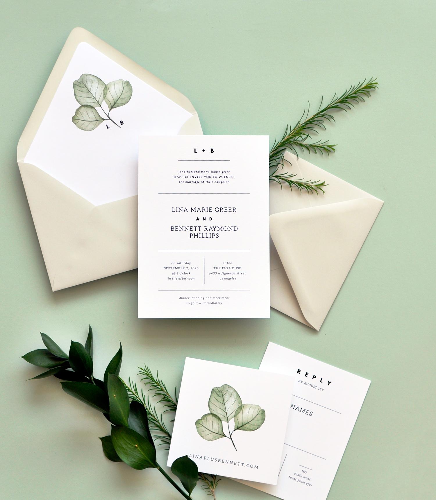 Simply Modern Wedding Invitation with Leaf Motif