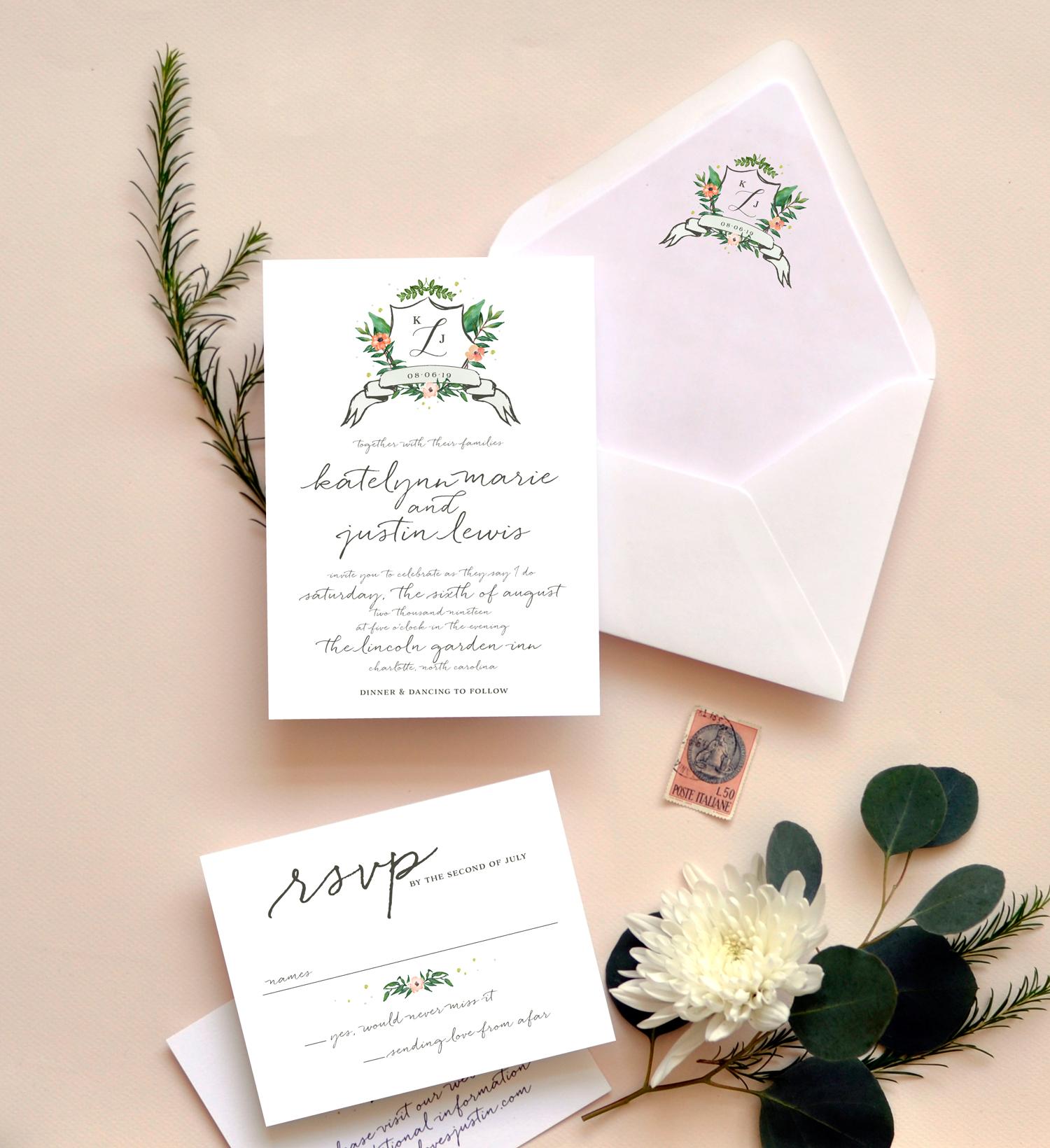 Watercolor Crest Wedding Ensemble