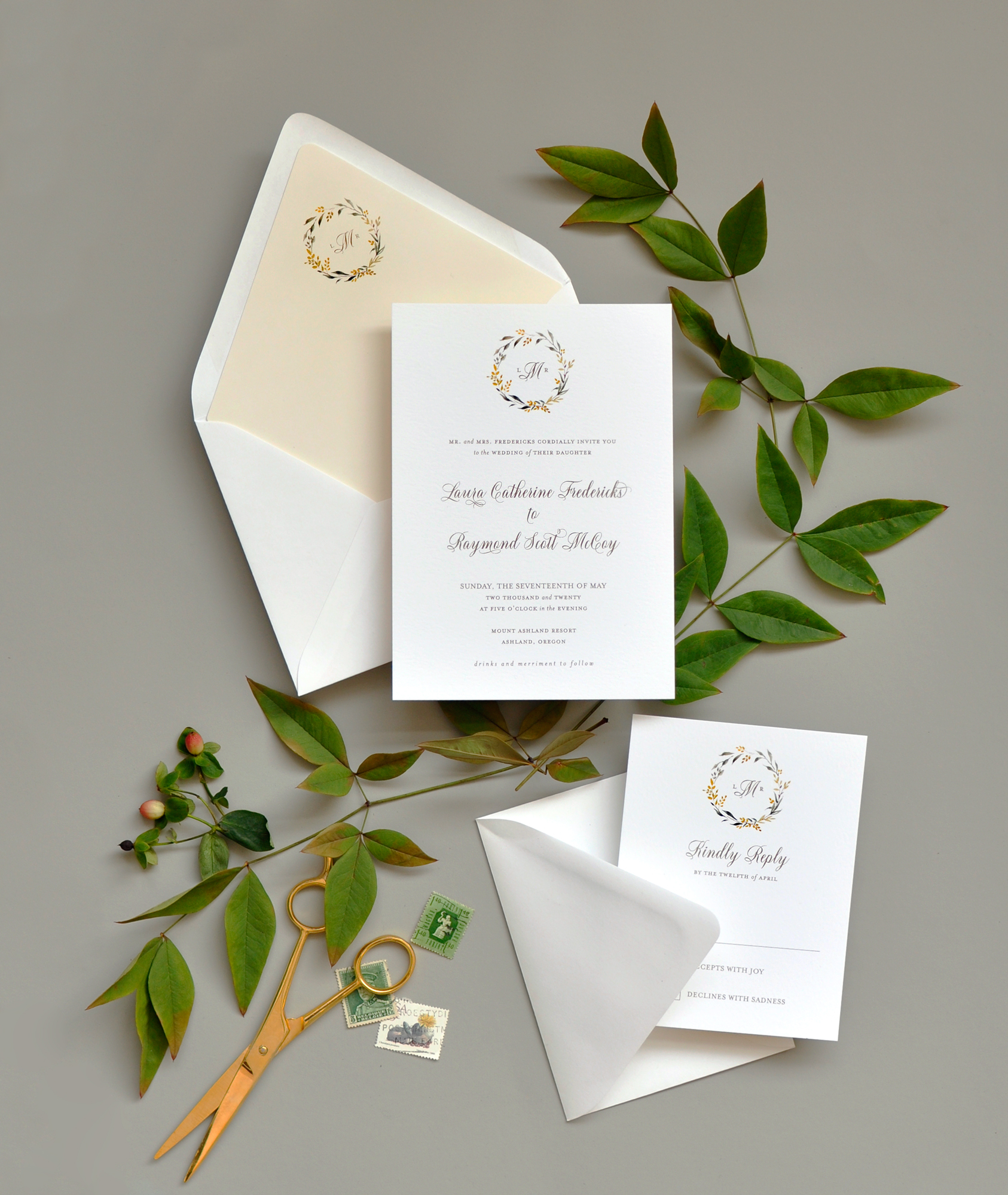 Sweet Summer Wedding Invitation and Response Card