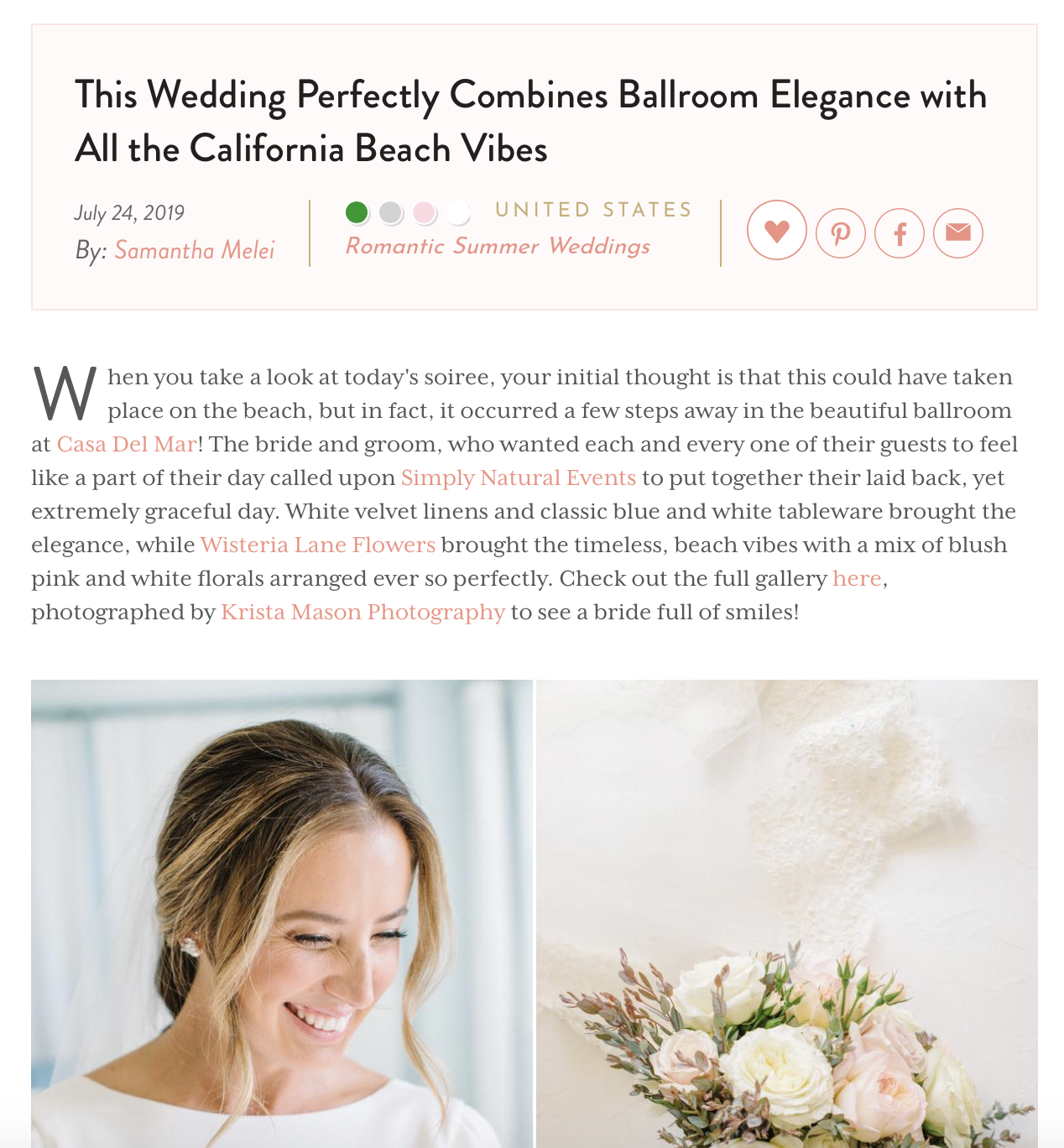 Kate + Nick's wedding on Style Me Pretty