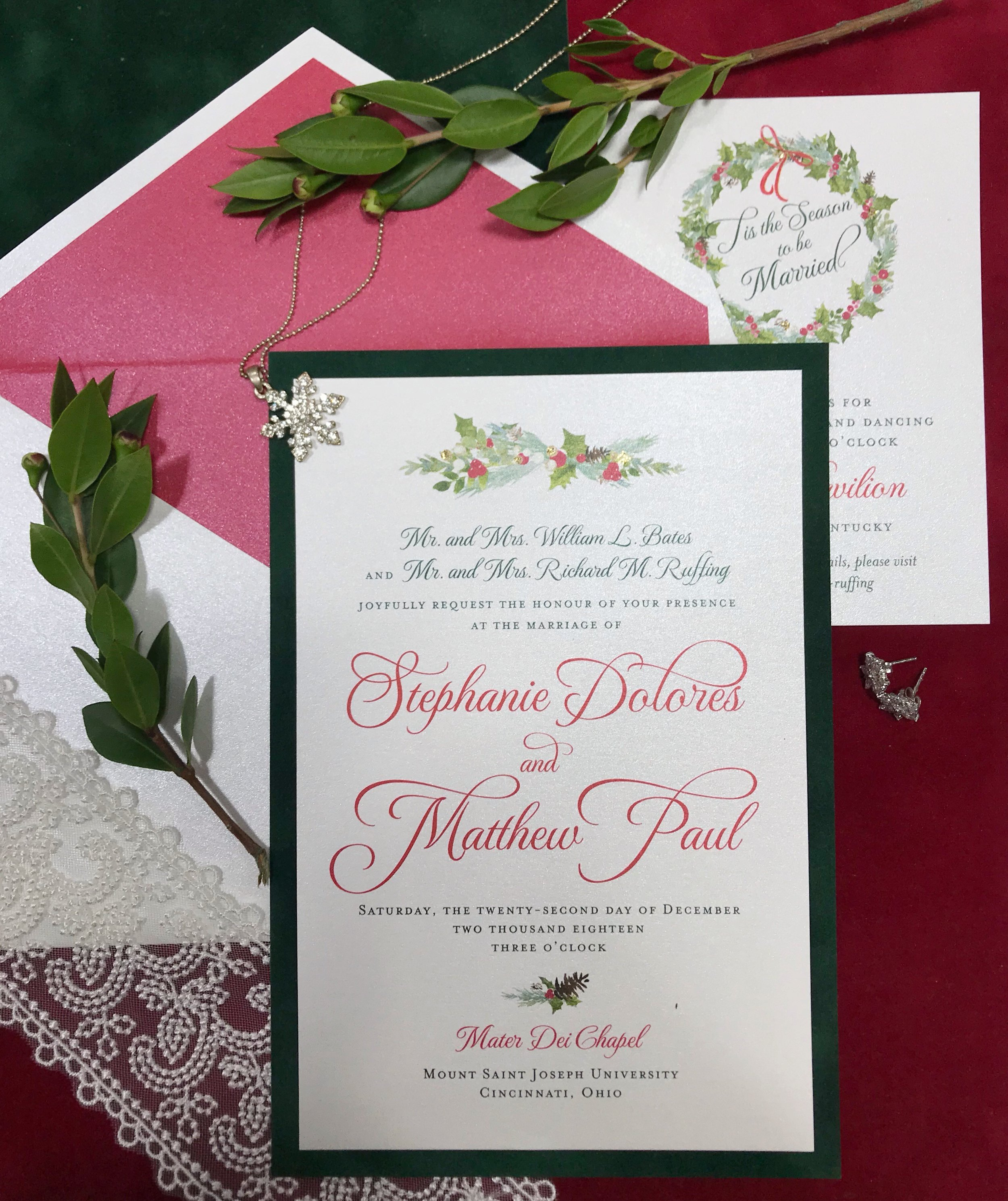 Wedding Invitation with Christmas Motif by Poeme