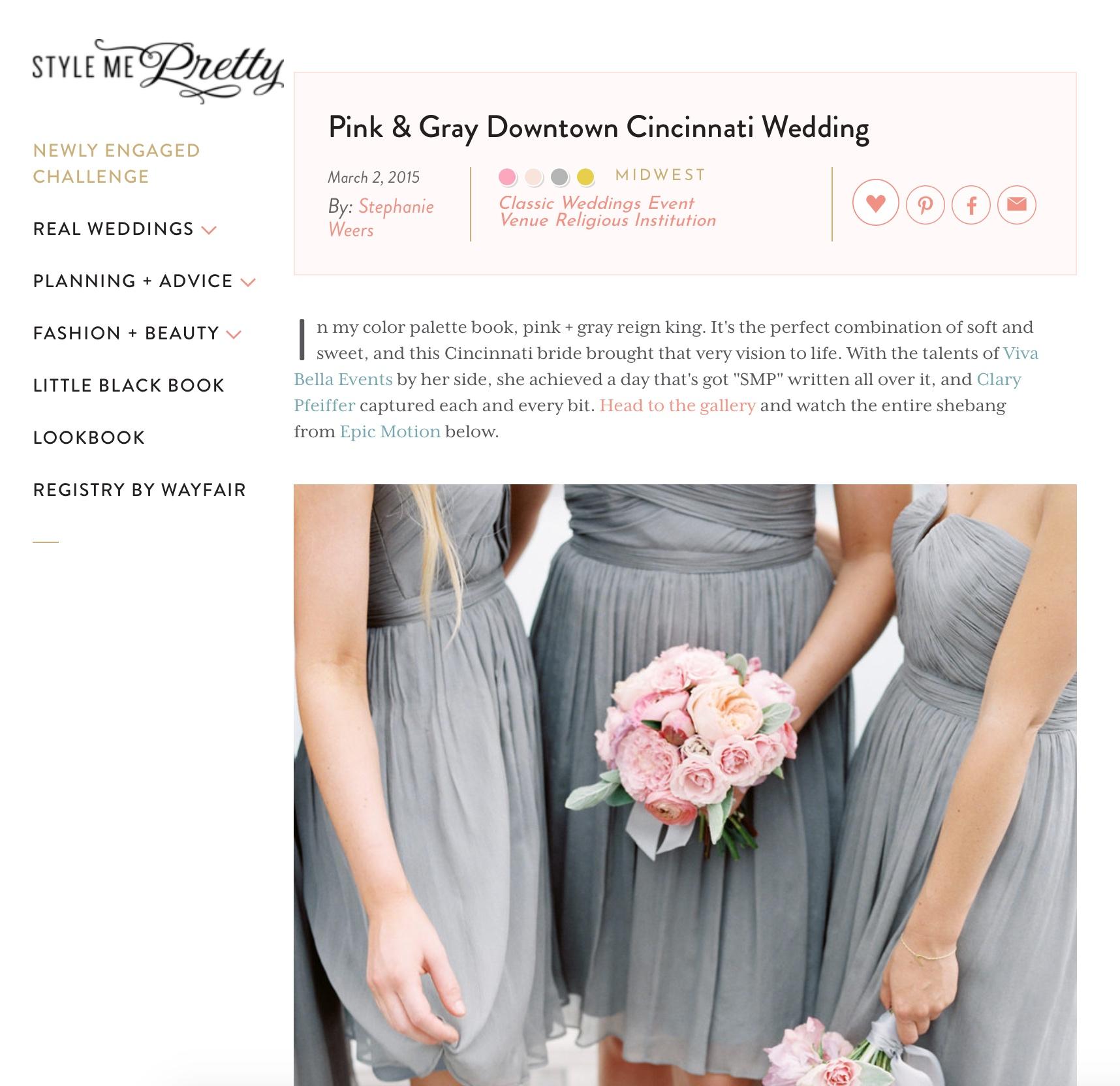 Pink & Gray Downtown Cincinnati Wedding