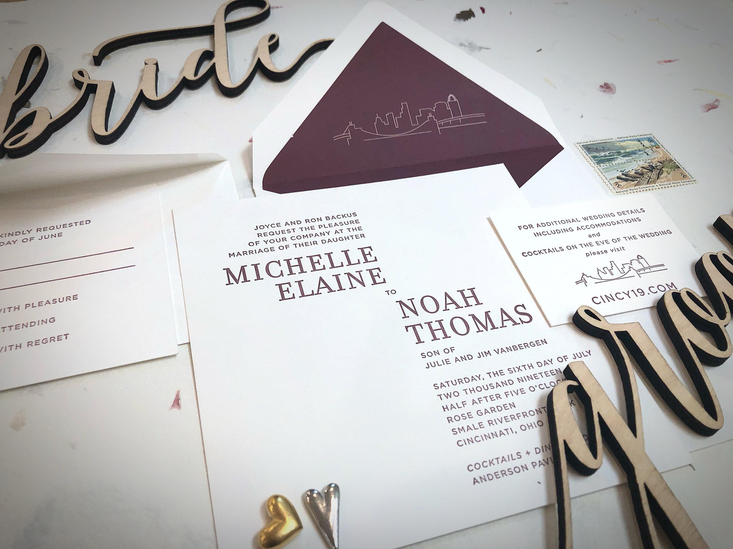 Letterpress wedding suite with Cincinnati skyline graphic