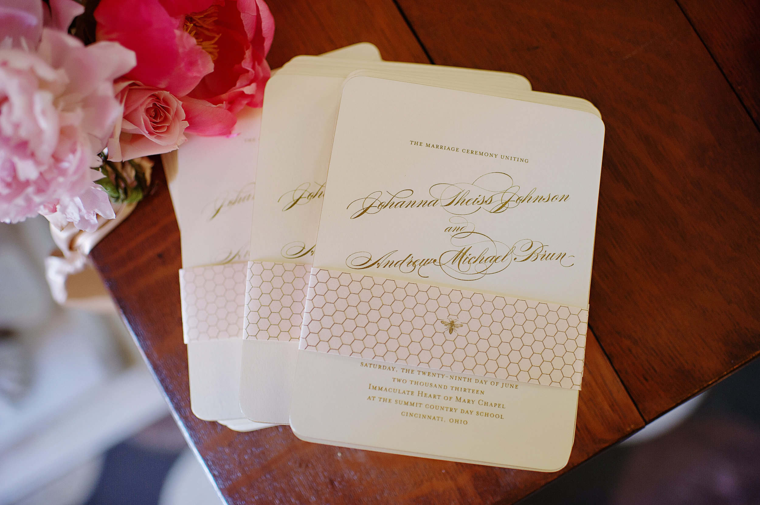 Bee and honeycomb motif stationery for a Cincinnati Wedding at Pinecroft Estate. S