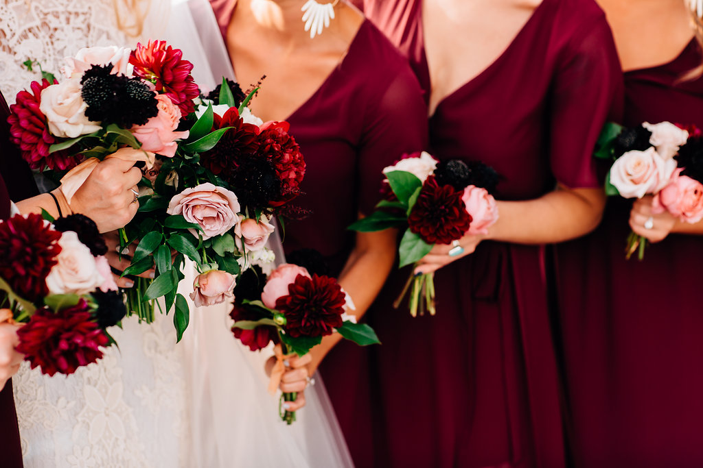 Fall burgundy wedding in Cincinnati