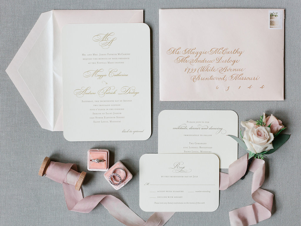 Gorgeous wedding stationery with gold raised ink on ivory corner rounded stock, complimented with a blush soft shimmer envelope. Matching response card. Beautiful calligraphy in gold by #paintjarproductions. Stationery by Poeme.