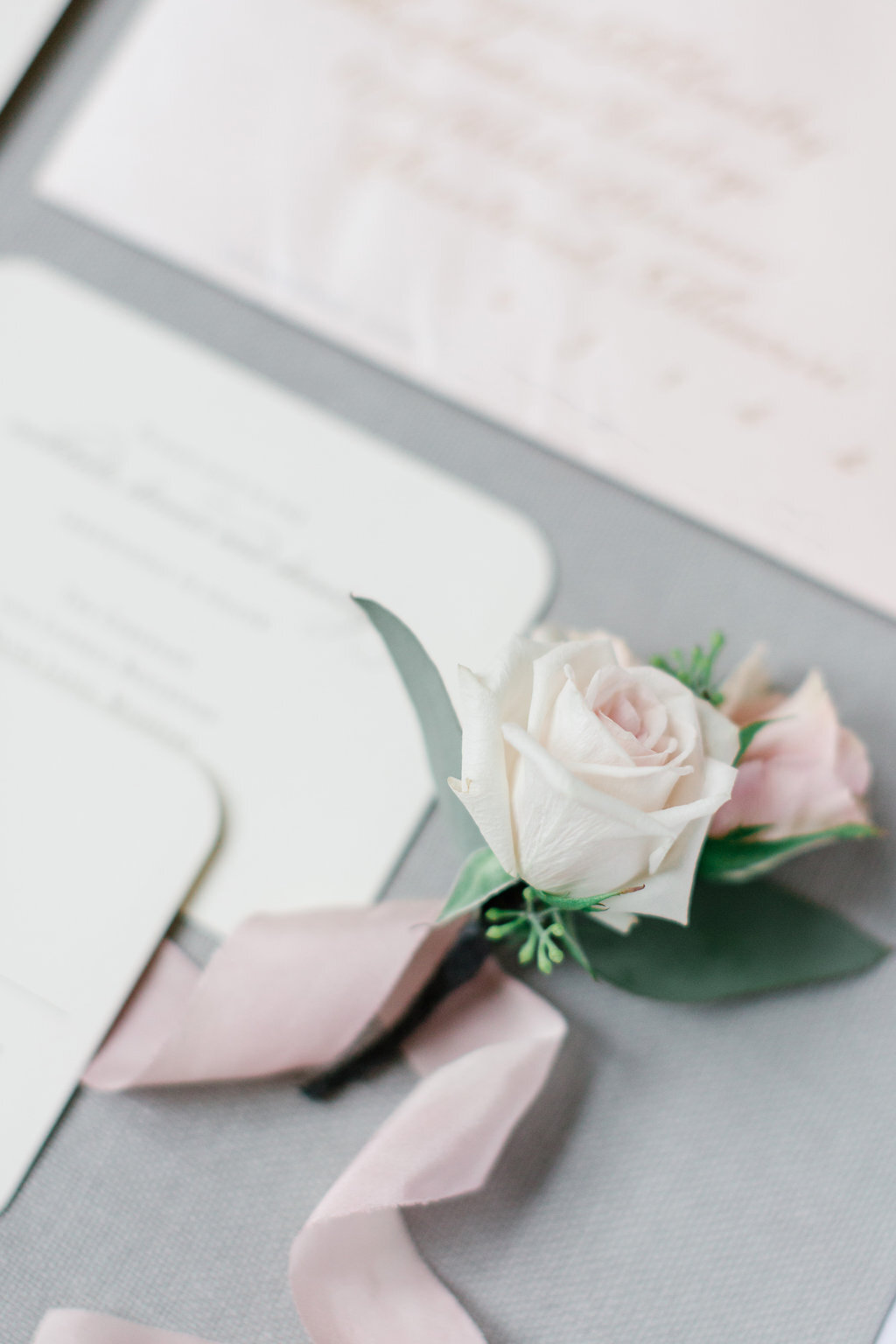 Gorgeous wedding stationery with gold raised ink on ivory corner rounded stock, complemented with a blush soft shimmer envelope. Matching response card. Beautiful calligraphy in gold by paint jar productions. Stationery by Poeme.
