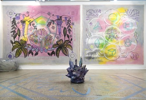 Clockwise: Katerina Lanfranco,  Bean Bag Boulders (Blue, Violet, Green) ,  Twilight Ether, Everything All The Time ,  Crystal Void  and  Blue, Grey, Silver Floor Mandala,  2017