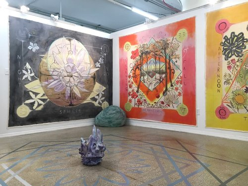 Clockwise: Katerina Lanfranco,  Night Void,  2017;  Evening Fall,  2017;  Afternoon Summer,  2017;  Bean Bag Boulders (Blue, Violet, Green) , 2017;  Blue, Grey, Silver Floor Mandala,  2017; and  Crystal Void  (center) 2017