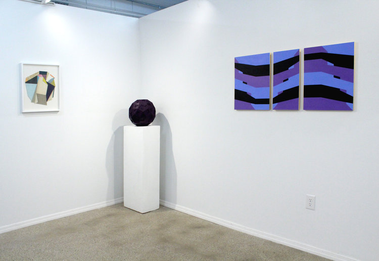 Left to right: Lauri Hopkins,  Slippy , 2016; Sarah Bednarek,  Purplyest , 2016; Hanz Hancock,  Untitled , 2016.