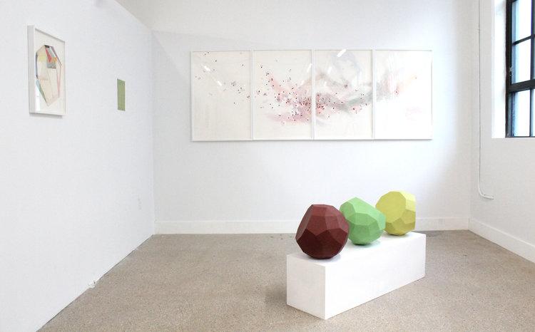Left to right: Lauri Hopkins,  Powder , 2016; Andy Parkinson,  Script , 2017; Nelleke Beltjens,  Irresistible Non Solution #10 , 2013; Sarah Bednarek,  Dodecahedron Group , 2014