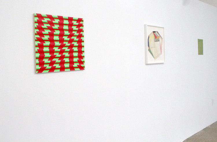 Left to right: Patrick Morrissey,  TQID Red/Green , 2016; Lauri Hopkins,  Powder , 2016; Andy Parkinson,  Script , 2017