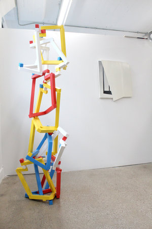 Left to right: Vivien Collens,  Froebel's gifts: installation of balanced units , 2017; Leslie Smith III,  Ready Or Not , 2014