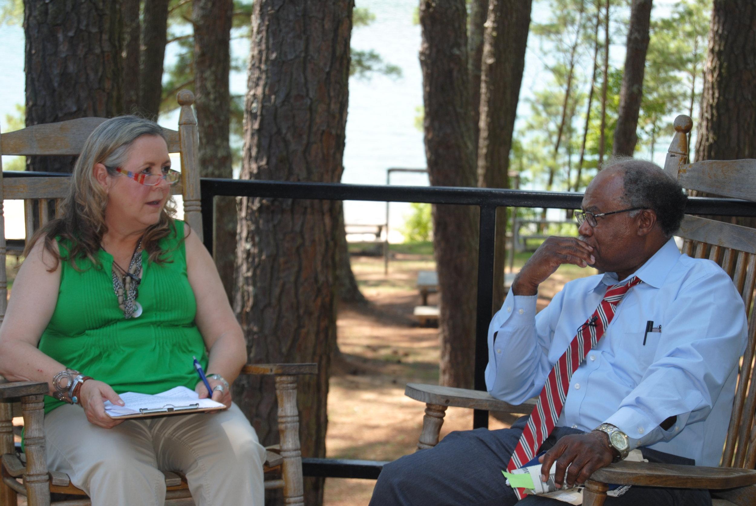 Sheri interviewing Justice Robert Benham at George Washington Carver Park