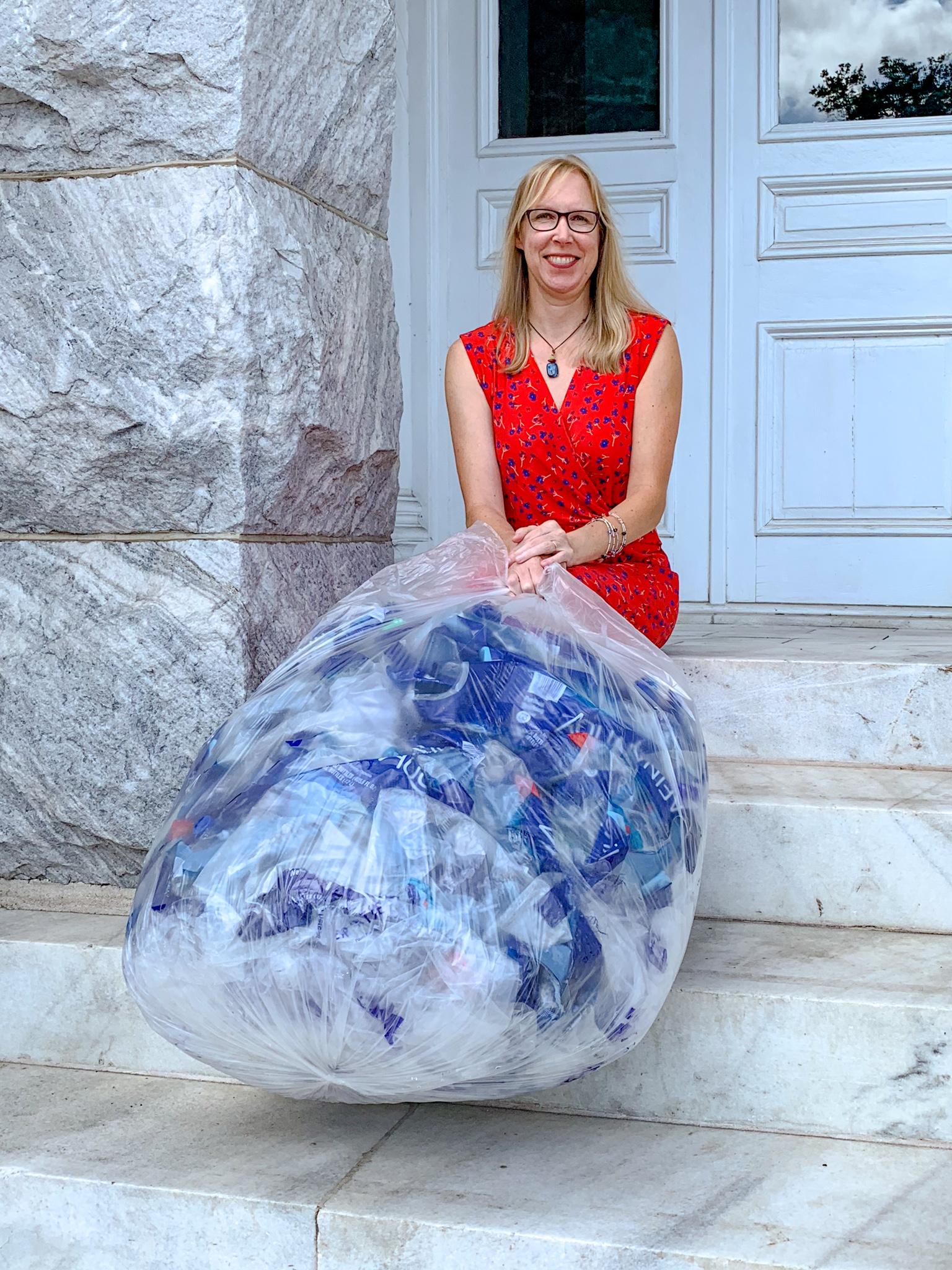 Christy Trowbridge of Keep Golden Isles Beautiful promoting plastics recycling.