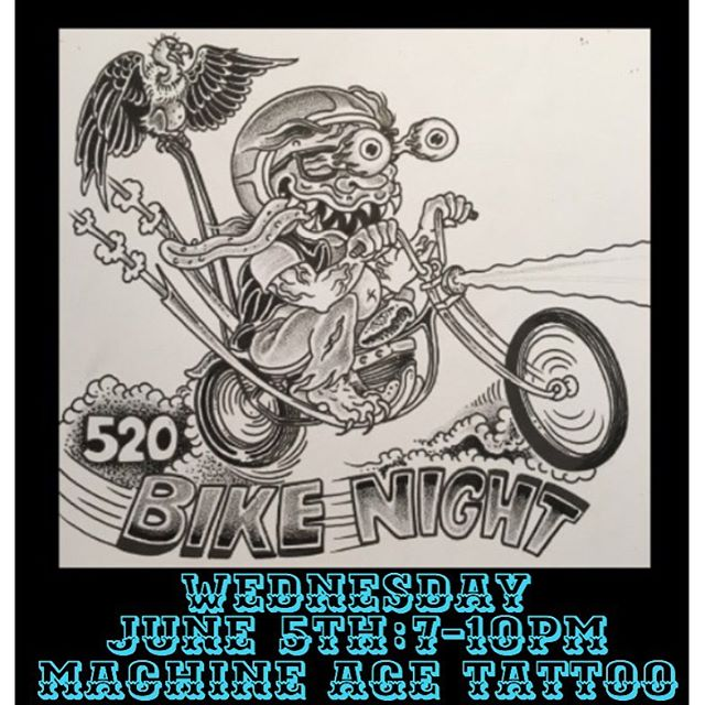Bugsy is hosting another bike night at his shop @machineagetattoo  7-10pm #520bikenight #oldshitrules #machineagetattoo