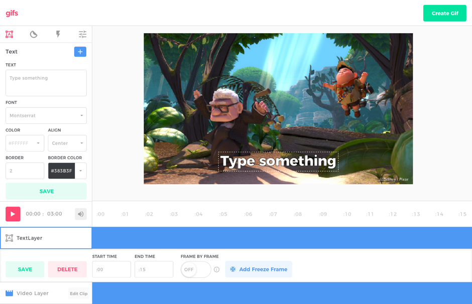 Users can add text to their gifs